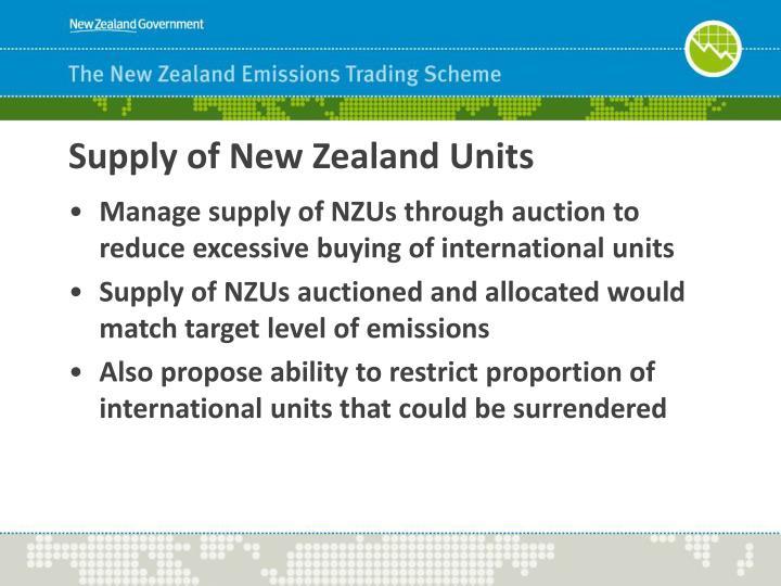 Supply of New Zealand Units