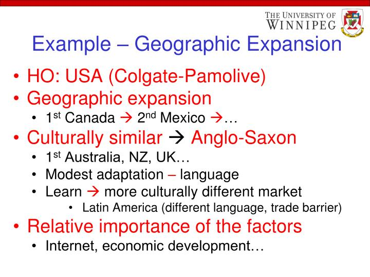 Example – Geographic Expansion