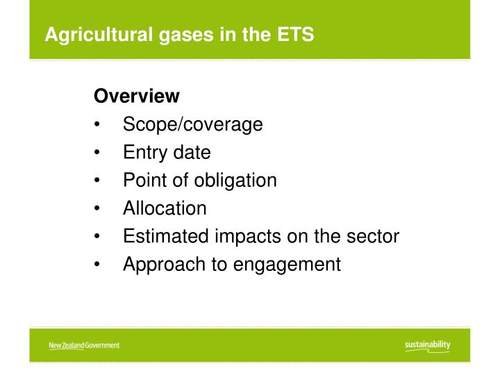 Agricultural gases in the ETS