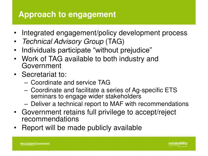 Approach to engagement
