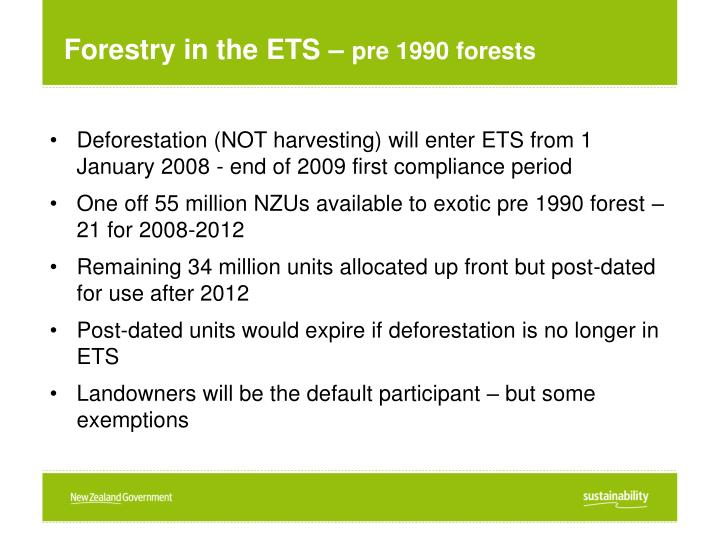 Forestry in the ETS –