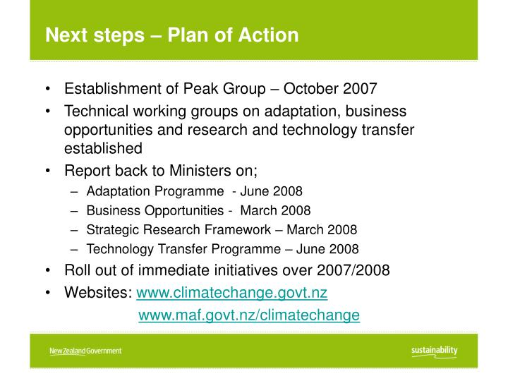 Next steps – Plan of Action
