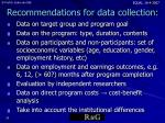 recommendations for data collection