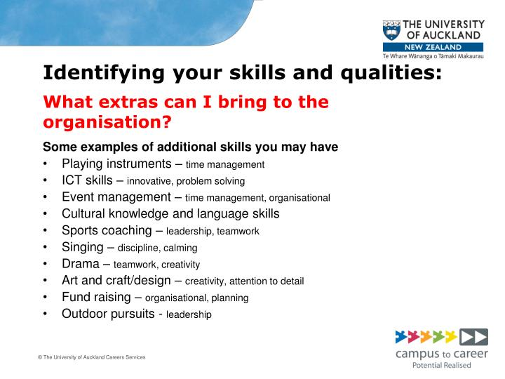 Identifying your skills and qualities:
