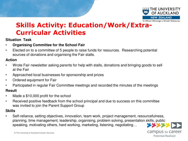 Skills Activity: Education/Work/Extra-Curricular Activities