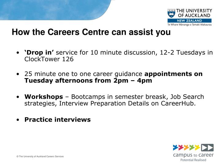 How the Careers Centre can assist you