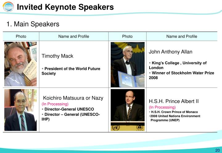 Invited Keynote Speakers