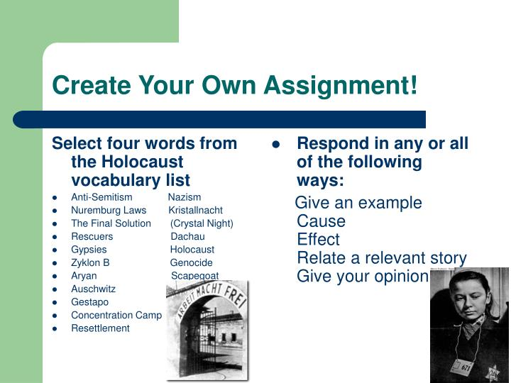 create your own assignment n.