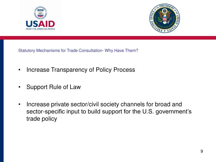 Statutory Mechanisms for Trade Consultation- Why Have Them?