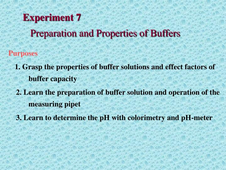 Experiment 7 preparation and properties of buffers