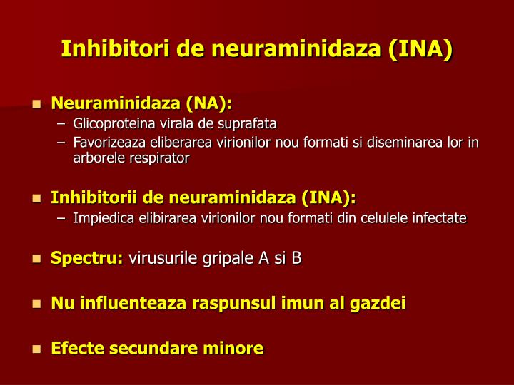 Inhibitori de neuraminidaza (INA)