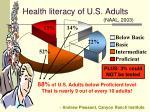 health literacy of u s adults