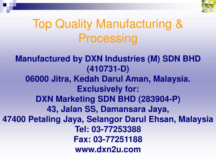 Top Quality Manufacturing & Processing