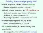 solving linear integer programs