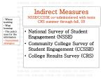 indirect measures nsse ccsse co administered with tests crs summer through fall 03