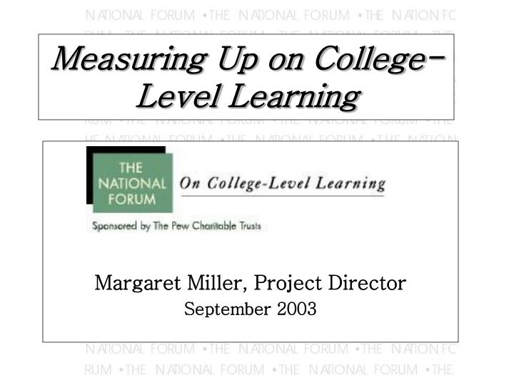 measuring up on college level learning