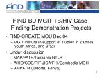 find bd mgit tb hiv case finding demonstration projects
