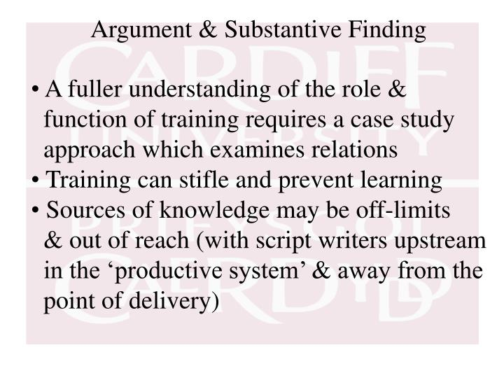 Argument & Substantive Finding