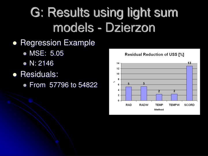 G: Results using light sum models - Dzierzon