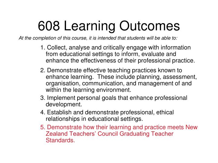 608 learning outcomes
