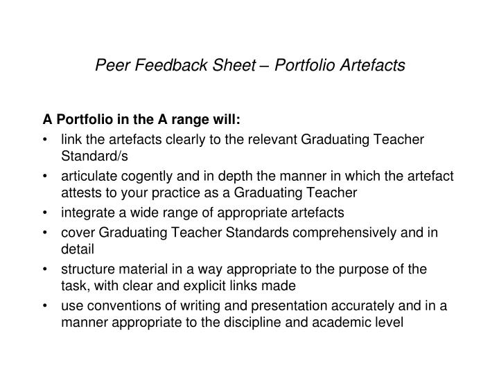 Peer Feedback Sheet – Portfolio Artefacts