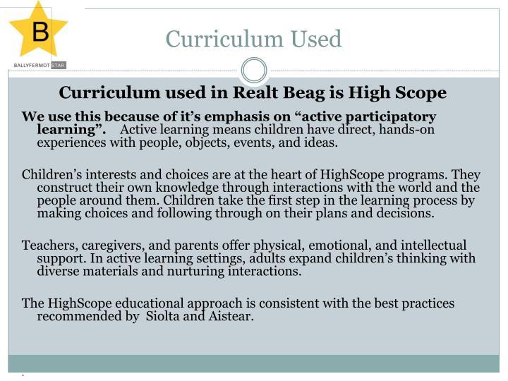 Curriculum Used