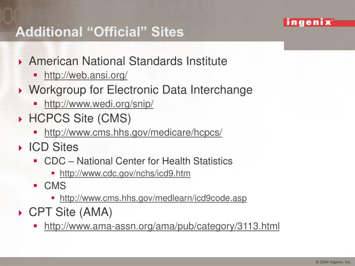 """Additional """"Official"""" Sites"""
