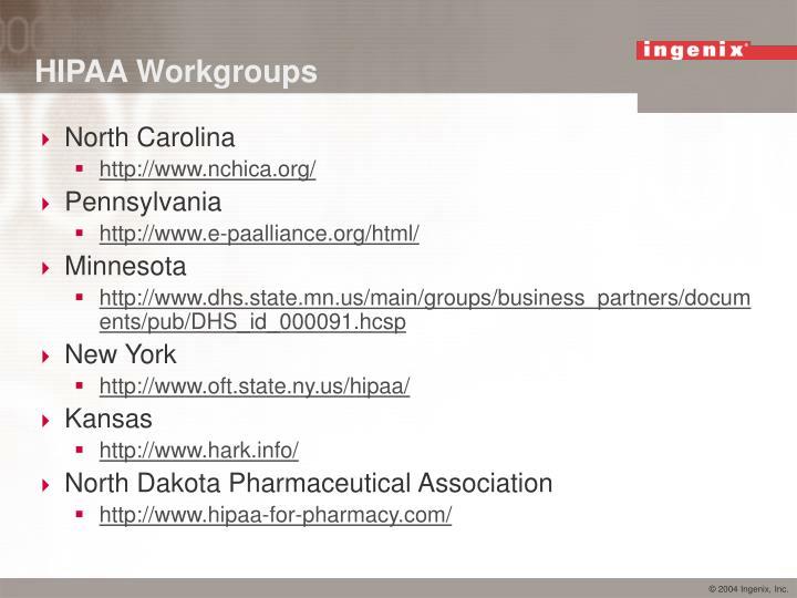 HIPAA Workgroups