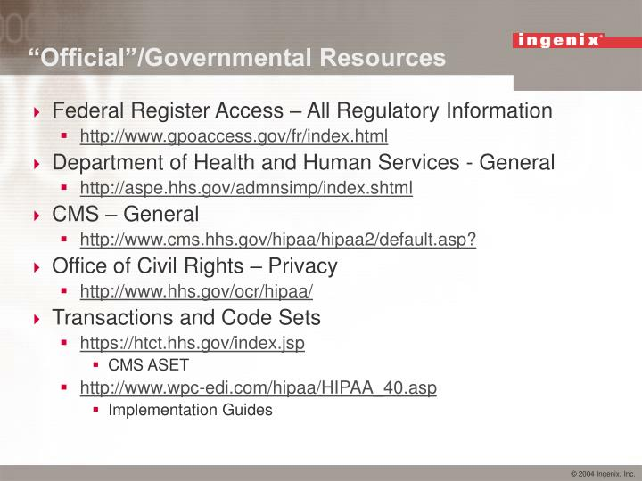 """""""Official""""/Governmental Resources"""
