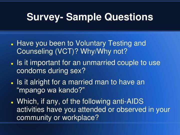 Survey- Sample Questions
