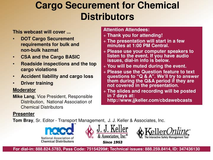 cargo securement for chemical distributors n.