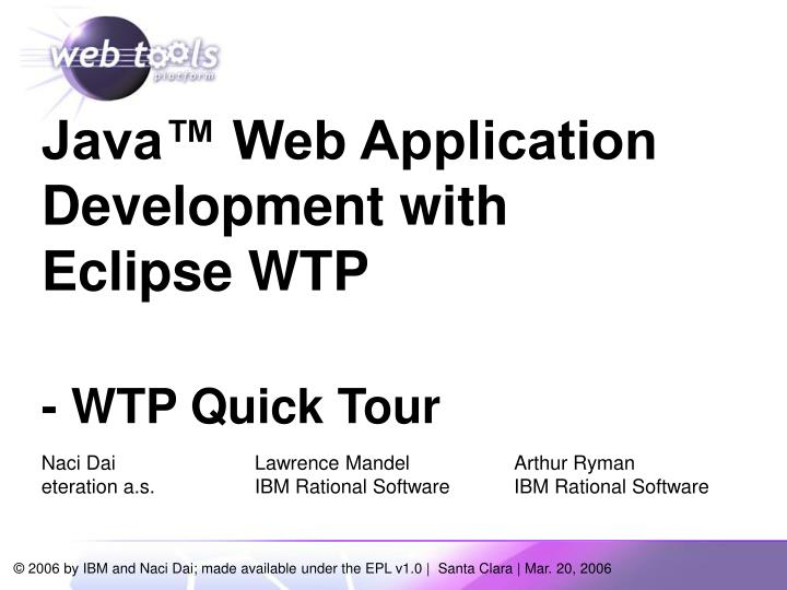 java web application development with eclipse wtp wtp quick tour n.