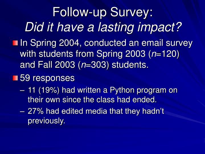 Follow-up Survey: