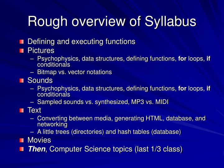 Rough overview of Syllabus