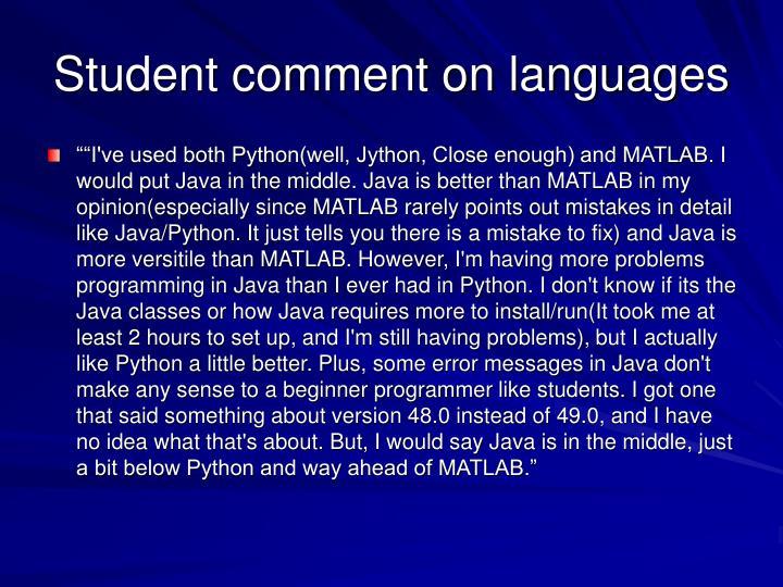 Student comment on languages