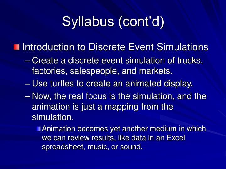 Syllabus (cont'd)