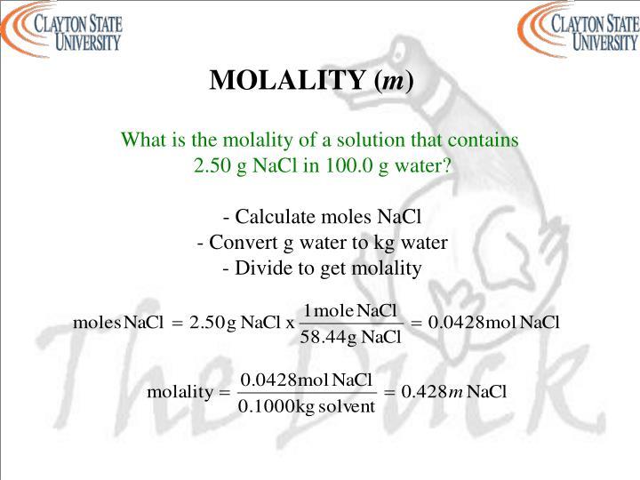 MOLALITY (