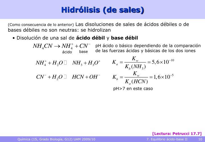 Hidrólisis (de sales)