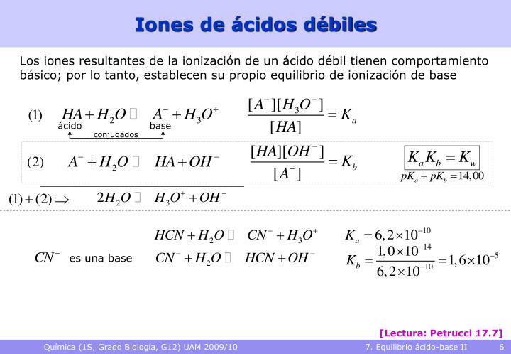 Iones de ácidos débiles