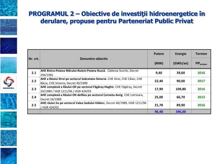 PROGRAMUL 2 – Obiective de investiţii hidroenergetice în derulare, propuse pentru Parteneriat Public Privat