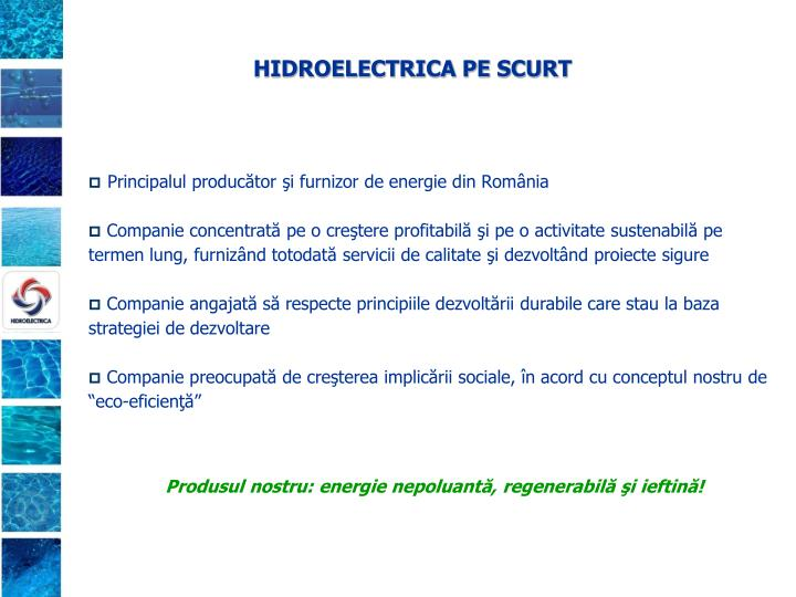 HIDROELECTRICA PE SCURT