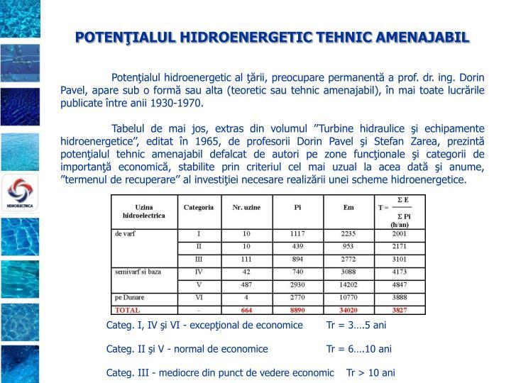 POTENŢIALUL HIDROENERGETIC TEHNIC AMENAJABIL