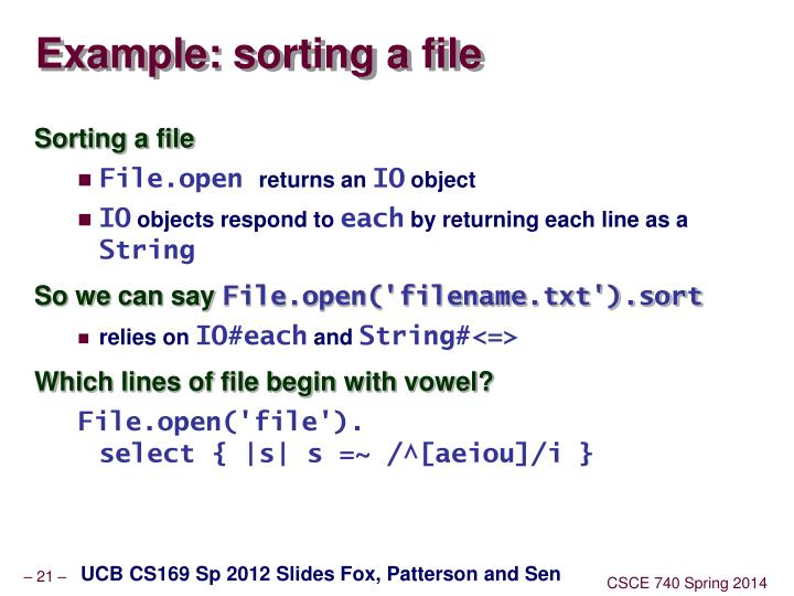 Example: sorting a file