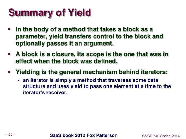 Summary of Yield
