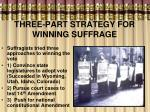 three part strategy for winning suffrage