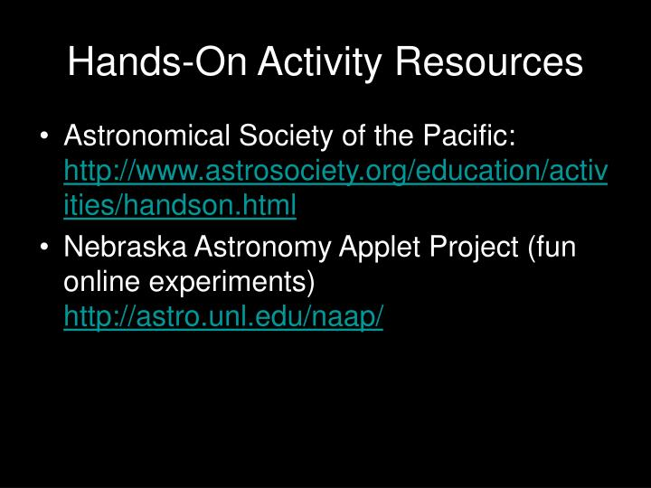 Hands on activity resources