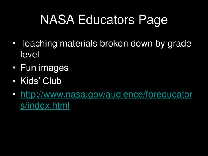 NASA Educators Page