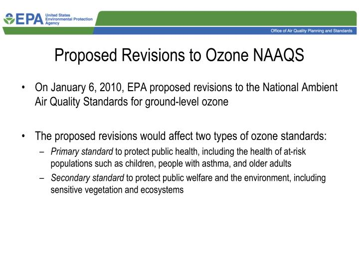 Proposed revisions to ozone naaqs