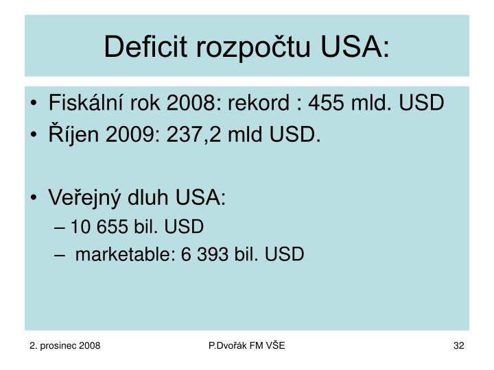 Deficit rozpočtu USA: