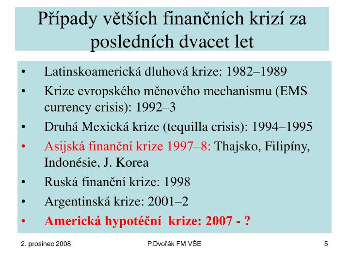 Případy větších finančních krizí za posledních dvacet let